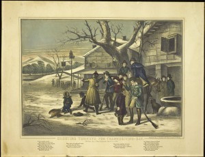 Color scan of a lithograph, depicting a group of about 10 young men and a few women, standing outside a snow-roofed house. Some men have guns and one dead turkey lays on the snowy ground. Mountains, trees, and another hunting party can be seen in the distance.