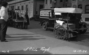 Vendors and the Federal Pretzel Baking Company truck outside of South Philadelphia High School.