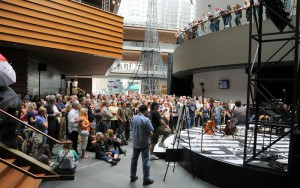 color photo of a crowd listening to a concert in the lobby of the Kimmel Center, April 2011.