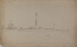 A pencil drawing of the Absecon Island lighthouse in Atlantic City.
