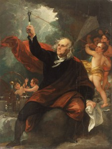 A celebratory portrait of Benjamin Franklin celebrating his scientific accomplishments.