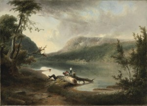 A claudian landscape painting depicting the Delaware Water Gap.