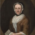 An eighteenth century style portait created by Gustavus Hesselius depicting a woman.