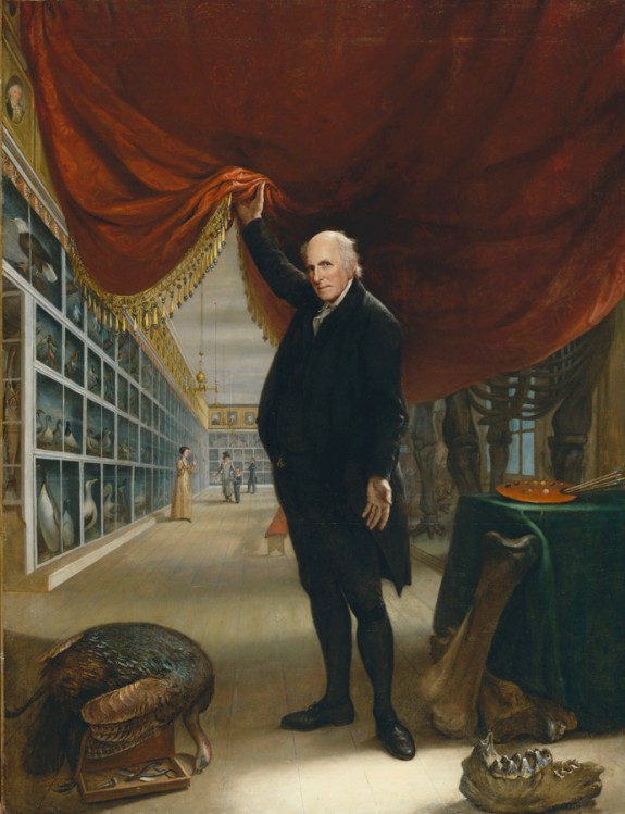 A self-portrait of Chalres Willson Peale in his Philadelphia Museum.