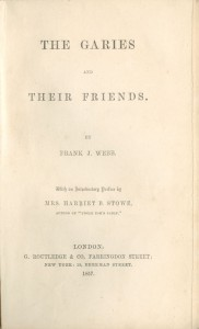 The cover page of the The Garies and Their Friends from the 1857 Routledge edition.