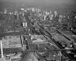 Thirtieth Street Station, shown here under construction in 1932, is the largest rail hub in Philadelphia. It was constructed to replace Broad Street Station. (Library Company of Philadelphia)