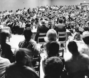 An overflow audience at a 1968 school board meeting regarding busing to public schools.