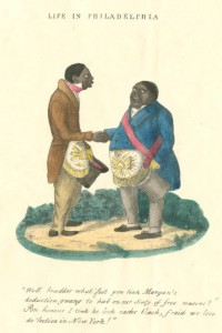 "A caricature from ""Life in Philadelphia,"" depicting two African-American Masons talking in broken English."