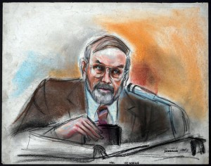 Court room sketch of Melvin Weinberg and informant during the Abscam sting operation.