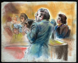 Court room sketch of Thomas P. Puccio