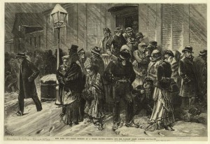 Drawing of a group of vagrants leaving a New York police Station.