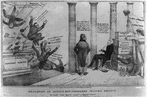A satrical cartoon, published in 1834, on the failure of the combined efforts of Henry Clay, Daniel Webster, John Calhoun, and Nicholas Biddle to thwart Jackson's treasury policy