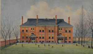 A depiction of Friends Select School during the late nineteenth century.