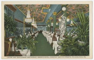 A color postcard of the dining room at Green's Hotel