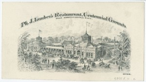 a black and white engraving of Lauber's German Restaurant on the Centennial grounds