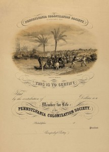 A membership certificate for the Pennsylvania Colonization Society, an organization that supported the colonization movement. (Library Company of Philadelphia)