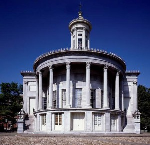 A picture of the Merchant's Exchange building, an example of Greek Revival architecture.