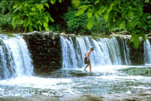 color photograph of the wissahickon valley creek. a waterfall cuts across the frame and a young man in swim trunks walks across the creek