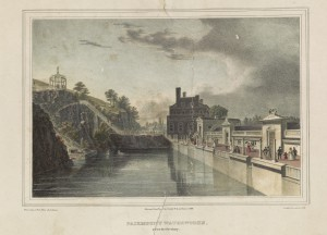 color drawing of the fairmount waterworks. the schuylkill river runs through the center of the frame and a staricase on the left bank leads up to a gazebo, on the right side of the frame is a row of buildings with people walking along the promenade