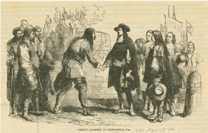 William Penn's arrival in New Castle, Delaware.