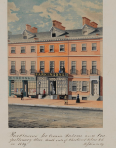 A color engraving of Parkinson's Ice Cream and Cafe dated 1859