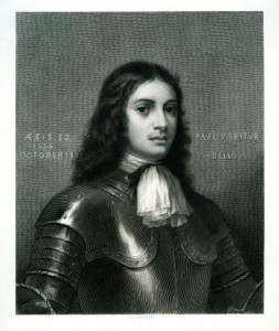 A black and white painted portrait of William Penn wearing armor