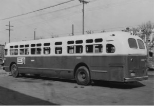 A black and white photo of a Philadelphia city bus from 1956.