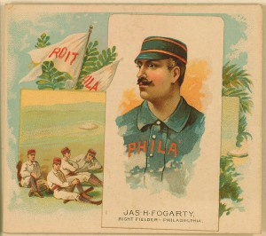 A baseball sports card featuring baseball play James Fogarty