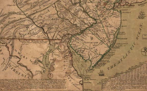 Detail from a 1749 map shows the area that later became Delaware, labeled Delaware Counties, in the center bottom portion.