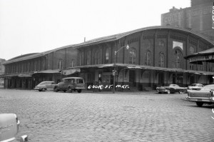 A black and white photograph of the former Dock Street Market seafood warehouse in Society Hill