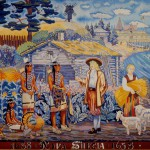 Tapestry depicting the relationships between New Sweden colonists and Lenape Indians.