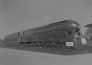 A picture of the S1 locomotive, a massive experimental steam locomotive developed by the Pennsylvania Railroad in the late-1930s.