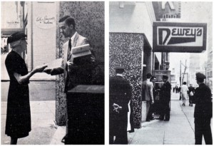 Black and White photographs depicting Janus Society member distributing leaflets and police officers arriving at the Seventeenth Street Dewey's restaurant.