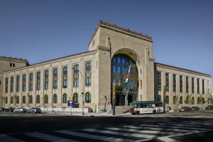 An image of the Ruth and Raymond G. Perelman building, across the street from the Philadelphia Museum of Art.