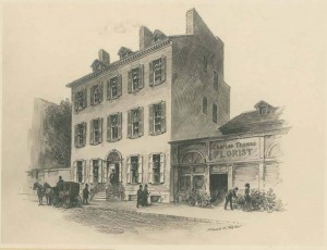a black and white drawing of the first Union League headquarters on Chestnut Street