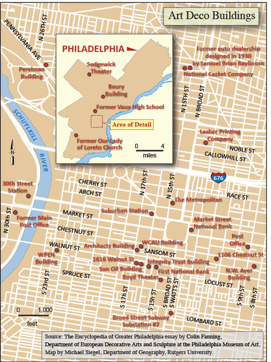 map showing Art Deco points of interest in the Phila area