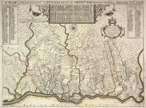 A map of Pennsylvania in 1687 showing land purchases and town and county borders
