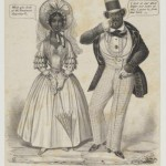 An illustration of an African American couple in fancy dress, the woman wearing a dress, white gloves, and large hat with a veil while holding a parasol; the man wearing a waist-coat, vest, white gloves, a top hat, and a monocle.