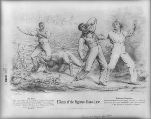 A black and white lithograph of four black men being ambushed by a crowd of white men