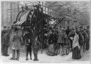 a black and white illustration of visitors examining a wall paper printing press at the Centennial Exhibition