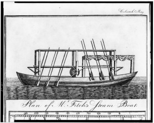 A black and white illustration of John Fitch's steamboat, showing oars along the sides and the piston that rowed them