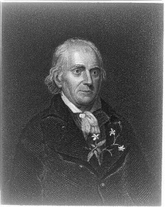 A black and white engraving of William Bartram with a sprig of jasmine tucked into his jacket