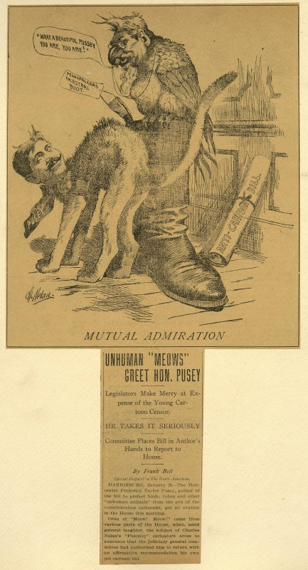 A political cartoon featuring a Gov. Pennypacker-faced parrot and a cut with the face of Rep. Pusey. The cat is rubbing himself against the boot the parrot is perched upon, and the