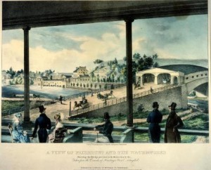 a color lithograph of people viewing the Fairmount Waterworks and Collosus Bridge from Harding's Hotel