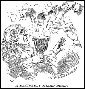 "This editorial cartoon by Fred Morgan, published in the Philadelphia Inquirer on April 6, 1899, shows William Penn balking at the idea of drinking the ""mixed drink"" offered him."