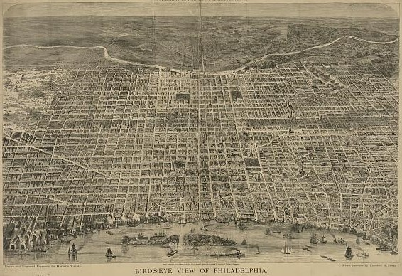 An engraving depicting a bird's eye view of Philadelphia during the late nineteenth century.