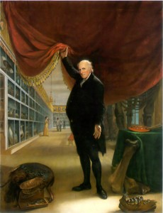 A painted self-portrait of Charles Willson Peale holding open a red curtain at the entrance of his Philadelphia Museum, exposing people browsing preserved specimens on shelves on the walls
