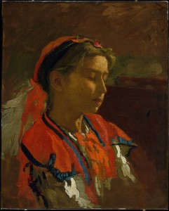 A colorful painted portrait of a woman in red and white, from the side.  Expressionist-like brushstrokes capture the folds of her clothing and a plume of feathers traveling backward from her hat.   The background is a warm brown tone of blurred, implied objects.