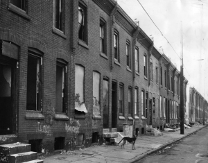 A black and while photograph of a street of row houses, many of which look abandoned or have been damaged in some way. There is trash in front of the buildings, and a dog on the sidewalk.
