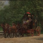 Secen people and a driver sit inn a red coach driven by four brown horses.  They're positioned on a path in Fairmount Park, surrounded by grass and trees.  The lady wears a colorful dress and hat; the men all wear hats, the majority of which are top hats.